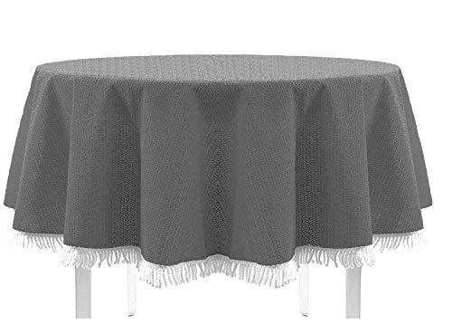 Exclusive Nappe de table de jardin, ronde, ovale, carrée classique avec franges, gris foncé, 130x160 cm eckig