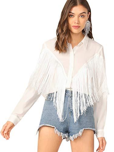 Verdusa Women's Fringe Trim Long Sleeve Button Up Blouse Shirt Top White S