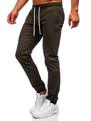 BOLF Herren Jogginghose Sporthose Trainingshose Jogger Sweathose Stoffhose Stretch Fitnesshose Jogpants Fußballhose Sweatpants Beinabschluss Pants Baumwolle Slim Fit J.Boyz 1145 Khaki XL [6F6]