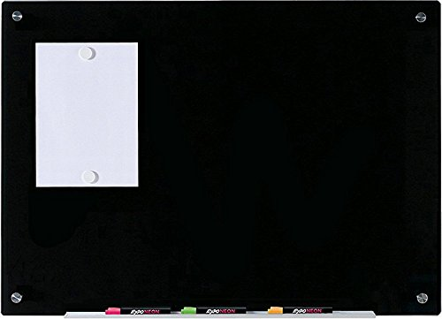 Audio-Visual Direct Magnetic Black Glass Dry-Erase Board Set - 23 5/8 x 35 1/2 Inches -