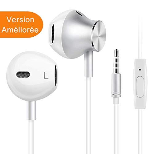 Écouteurs Intra-Auriculaires avec Micro, Casque de Musique pour iPhone, Samsung, Android, Jack 3.5mm Universel,...