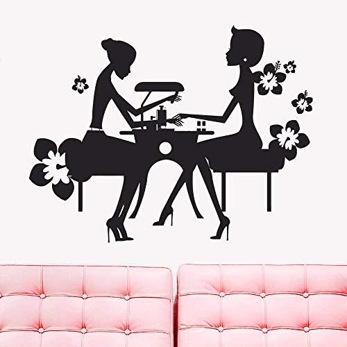 Calcomanía De Pared Vinilo Belleza Salón De Uñas Pegatina De Pared Belleza Uñas Manicura Tienda Decoración De Ventana Extraíble Tienda De Uñas Arte De Pared Mural 42X32Cm