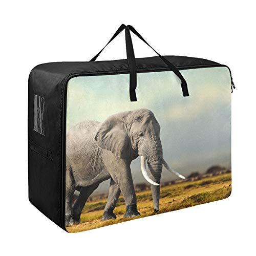 Unter dem Bett Vorratsbehälter African Elephant Masai Mara National Park Große Reißverschluss Aufbewahrungsbeutel für Kleidung 70 x 50 x 28 cm Steppdecke Tagesdecke Kissen Gepäck bewegliche Tasche Kl