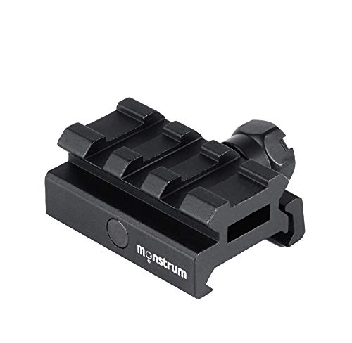 Monstrum Low Profile Picatinny Riser Mount (0.5' H x 1.5' L), for Red Dots