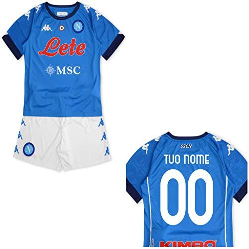MINIKIT Gara Home Bambino (Maglia E Pantaloncino) SSC Napoli 19/20 Personalizzata Personalizzabile (14 Anni)