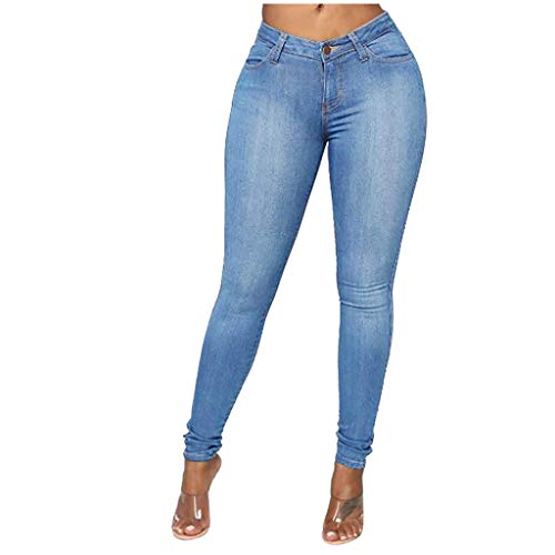 Ronony Damen Slim Skinny Jeans mit Stretch Hohe Taille Leggings Damen Jeanshose Knöpfte Röhrenjeans mit Löchern Frauen Denim Hose