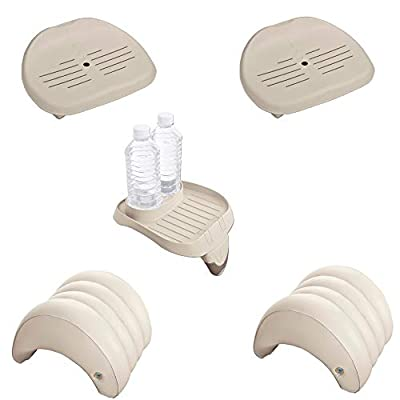 Intex Inflatable Hot Tub Seat , Attachable Cup Holder, Inflatable Head Rest