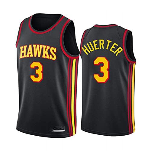 xiaotianshi Jerseys de la NBA de los Hombres -Astlanta Hawks # 3 Kevin Huerter Fresco Tela Transpirable Resistente al Desgaste Transpirable Vintage Basketball Jerseys Top Camiseta,Negro,XXL