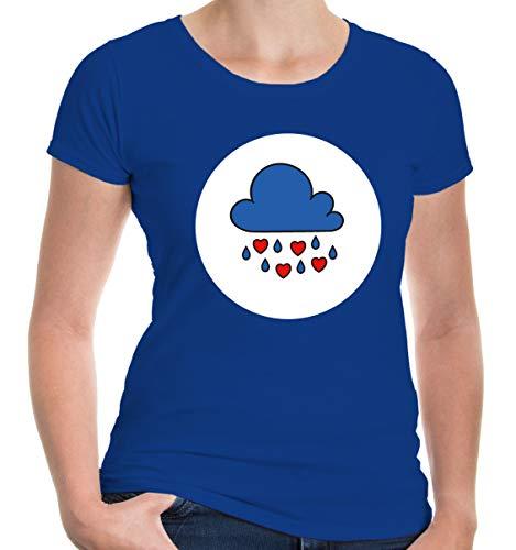 buXsbaum® Damen Girlie T-Shirt Plüschbärchen Wolke Kostüm | L, Blau