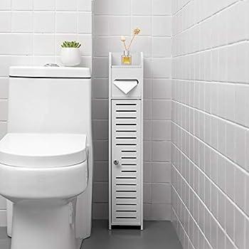 TuoxinEM Standing Toilet Paper Holder Narrow Storage Cabinet