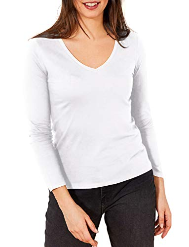 3 Packs Camisetas Manga Larga Mujer Camisetas Mujer de Algodón Camisetas Mujer Manga Larga Cuello Pico Camisetas Interior Mujer Manga Larga Cuello V