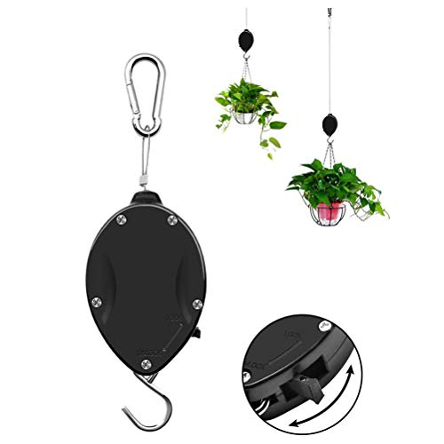 SANTITY Plant Pulley, Retractable Plant Hanger Adjustable Heavy Duty Plant Pulley Hook System for Outdoor Hanging Planters Garden Flower Basket Pots, Birds Feeder, Plant Grow Light, 1pcs