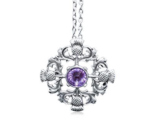 Scottish Necklace | Outlander Viking Scottish Thistle Pendant Necklace | Scotland Purple Amethyst Rhinestone | Zinc Alloy | Ancient Silver