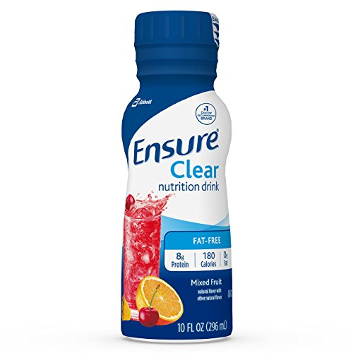 Ensure Clear Nutrition Drink, 0g fat, 8g of high-quality protein, Mixed Fruit, 10 fl oz, 12 Count