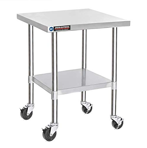 DuraSteel Stainless Steel Work Table 30' x 30' x 34' Height w/ 4 Caster Wheels -  Food Prep Commercial Grade Worktable - NSF Certified - Good For Restaurant, Business, Warehouse, Home, Kitchen, Garage
