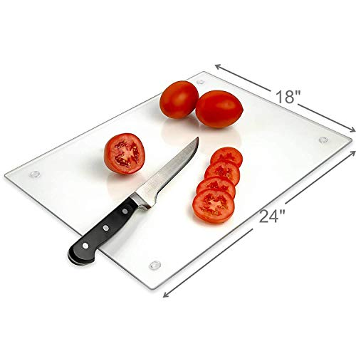 Tempered Glass Cutting Board  Long Lasting Clear Glass  Scratch Resistant, Heat Resistant, Shatter Resistant, Dishwasher Safe. (XXLarge 18x24