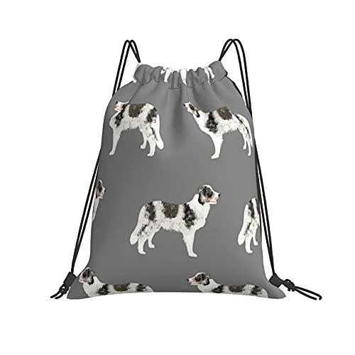 Border Collie Merle - Tela para perros, diseño de perros de Navidad, Navidad, papel pintado, gimnasio, con cordón, mochila de viaje, divertida, bolsa de hombro