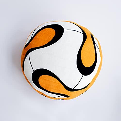 Los Futbolísimos | Cojín Grande Infantil con Estampado Balón de Fútbol para Niños y Niñas | Decoración Habitación Infantil | Redondo | para Cama, Sofá y Silla | 38 x 38 x 7 cm | 100% Poliéster