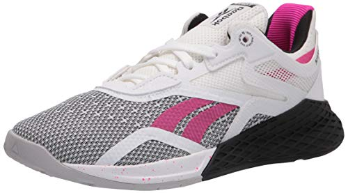 Reebok Women's Nano X Cross Trainer, White/Black/Proud Pink, 9
