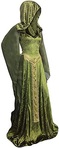 Mesodyn Women's Medieval Lace-up Vintage Hooded Cloak Robe Adult Costume Retro Cosplay Long Dress,X-Large Green