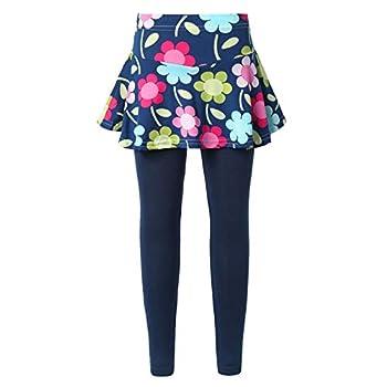 YUUMIN Kids Girls Elastic Leggings Pants One Piece High Waist Trousers Attached A-line Skirt Navy Butterfly 10