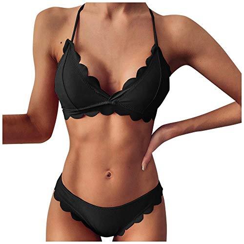 Kobiety Bikini Wysoki Stan Jednolity Kolor Push Up Usztywniany Biustonosz Bikini Zestaw Plażowy Strój Kąpielowy Stroje Kąpielowe-2_M