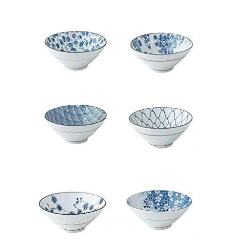 WEHOLY Abendessen Europäische kreative Geschirr Porzellansuppe Müsli Salatschüssel Keramik Mischplatte Home Flachmund Becken Große Suppe Becken Schüssel 6PCS
