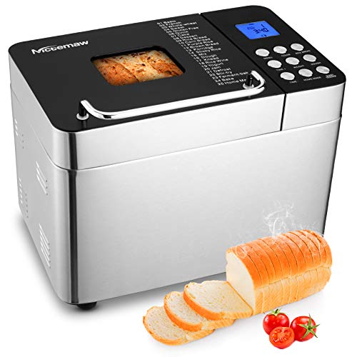 Nictemaw Bread Machine, 2LB 25-in-1 Stainless Steel Programmable Bread Maker Machine, Breadmaker with Nonstick Ceramic Pan, Button Design + Digital Display,15H Reserve, 1H Keep Warm