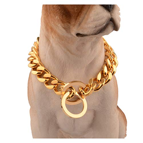 AOKIY Stainless Steel Dog Collar, Heavyduty Metal Pet Chain Necklace Links Leash Lead Training Walking Choker for Small Medium Large Dogs (Color : 14mm, Size : 34inch)