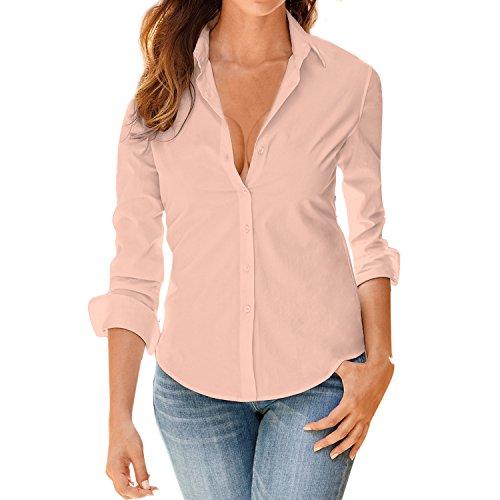 LAEMILIA Damen Blusen Langarm beiläufig Elegante Stretch T-Shirt Hemd Lose Boyfriend Stil Langarmshirt Tops Business Oberteil 5 Farben Größe 34 bis 42