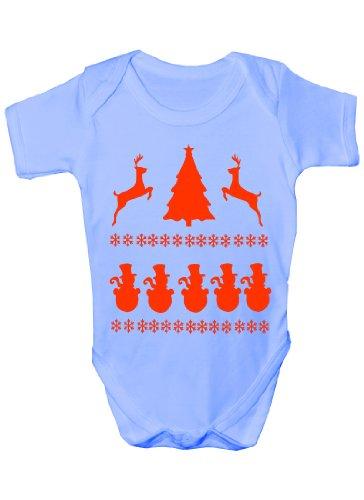 /de Noël Bonhomme de neige Scène Funny Body bébé Cadeau de Noël Fille/Garçon sans manches pour bébés - Bleu -