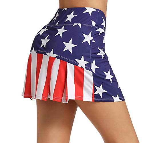 Ultrafun Women's Active Tennis Golf Skort Pleated Athletic Sports Running Skirt with Pockets and Shorts (Flag, Medium)