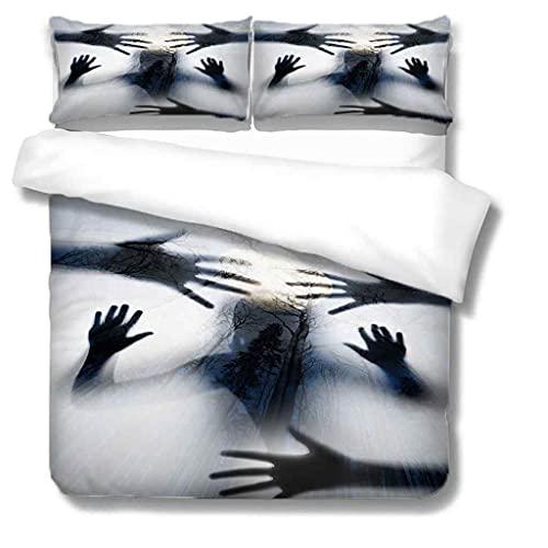 ZPOEQW Double Bedding Duvet Set 200X200Cm 3 Pcs Kids Girls Boys Double Bedding Sets : 100% Microfiber 3D Halloween Zombie Ghost Printed Duvet Cover + 2 Pillowcases, Zipper Closure, Soft Easy Care