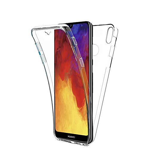 New&Teck Coque 360 Degré Huawei Y6 2019 – Protection intégrale Avant + Arrière en Rigide, Housse Etui Tactile 360 degré – Antichoc, Transparent Y6 2019