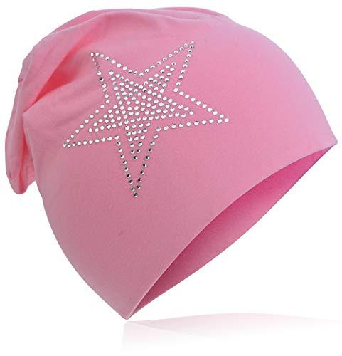 Baby Kinder Jersey Slouch Beanie Long Mütze mit Strass Stern Unisex Baumwolle Trend (48-53cm Kopfumfang, 2Stern-Rosa)
