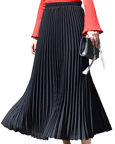 Shengwan Jupe Plissée Femmes Longue Haute Taille A-Line Couleur Unie Maxi Jupes Noir 90CM