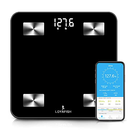 Loyafish Scales for Body Weight - Bluetooth Smart Digital Scale, Body Composition Scales Track 13 Key Metrics with iOS Android APP, Unlimited Users, Auto Recognition, Body Fat Scale,Water, BMI, BMR