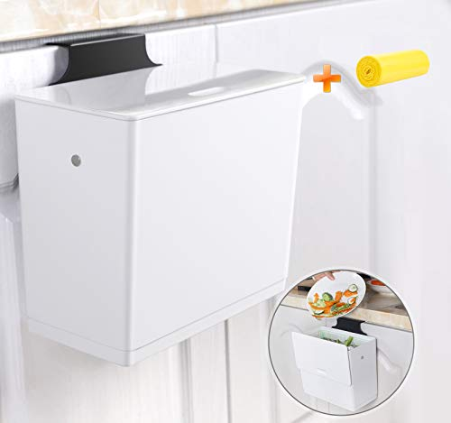 ANTU Hanging Trash Can for Kitchen Cabinet Door with Lid, Under Sink...