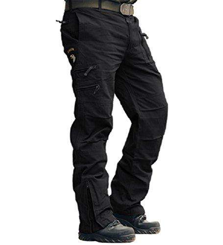 MAGCOMSEN Herren Hose Baumwolle Trainingshose Tactical Hose mit Tiefen Eingrifftaschen Multifunktionshose Slim Fit Arbeitshose für Wandern Urban Outdoor Hose Schwarz 33