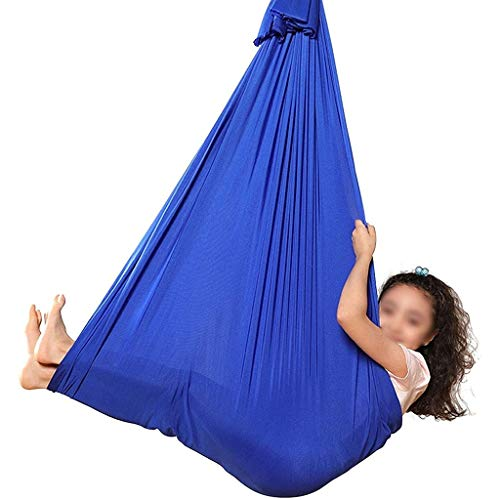Indoor Therapy Swing for Kids Child and Teens, Soft Hammock Swing with Special Needs for Children Yoga Sensory Integration Outdoor Camping, Aerial Yoga Hammock (Color : Blue, Size : 100x280cm)