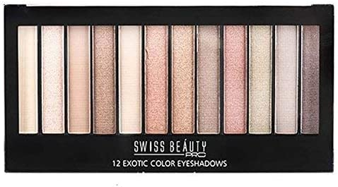 Swiss Beauty Pro Fearless Exotic Color Eyeshadow Matte, Semi-Matte & Shimmering Eyeshadow (18g, 12 Pieces)