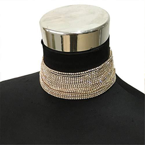 AMTBBK Pedrería Gargantillas Collares para Mujeres En Capas Collar Maxi Collar De La Boda Declaración De Joyería,Oro