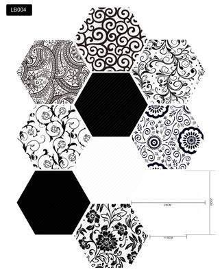 Etiquetas engomadas de Pared extraíbles Hexágono DIY Hogar Deco Impermeable Pegatinas de Piso Agotesivo Pegatinas de Azulejos PVC Retro Fondo de Pantalla (Color : LB004, Size : 30pcs(1.38sqm))