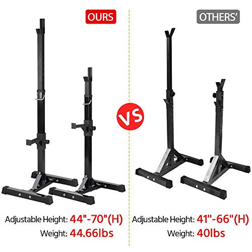 Yaheetech Pair of Adjustable Squat Rack Standard 44-70 Inch Solid Steel Squat Stands Barbell Free-press Bench Home Gym Portable Dumbbell Racks Stands
