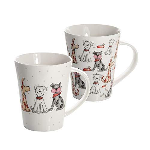 Tazas de porcelana para desayuno grandes con perros de Spotter Dog
