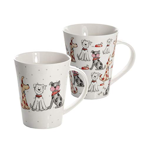 Juego 2 tazas de desayuno de cáramica porcelana para café té, grandes decorativas diseño de perro animales regalo