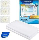 JIT-FUNG - Mosquitera para ventanas [Premium], 2 unidades, mosquitera de malla de 2,5 m x 1,55 m, con 3 rollos de cinta autoadhesiva [sin rastro], color blanco - 3.0