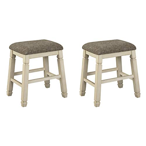 Signature Design By Ashley - Bolanburg Upholstered Stool - Set of 2 - Casual Style - Antique White