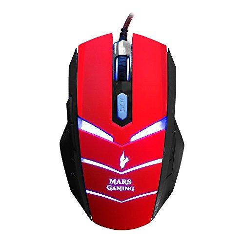 Mars Gaming MMVU1 - Ratón gaming para PC (5000 DPI, sensor óptico Avago, iluminación LED en 7 colores, 6 botones gaming, efecto respiración, aceleración 20 G, ambidiestro), color rojo y negro
