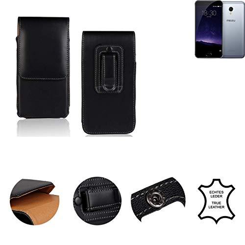 K-S-Trade® Holster Gürtel Tasche Für Meizu MX6 Handy Hülle Leder Schwarz, 1x